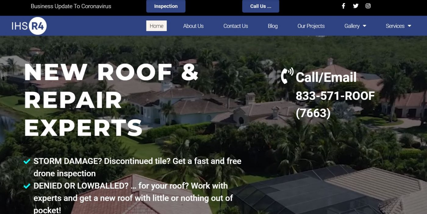 Website design by Artistic Created Websites Naples Fl Roofing Contractor near me. Website leads generation SEO, SEM
