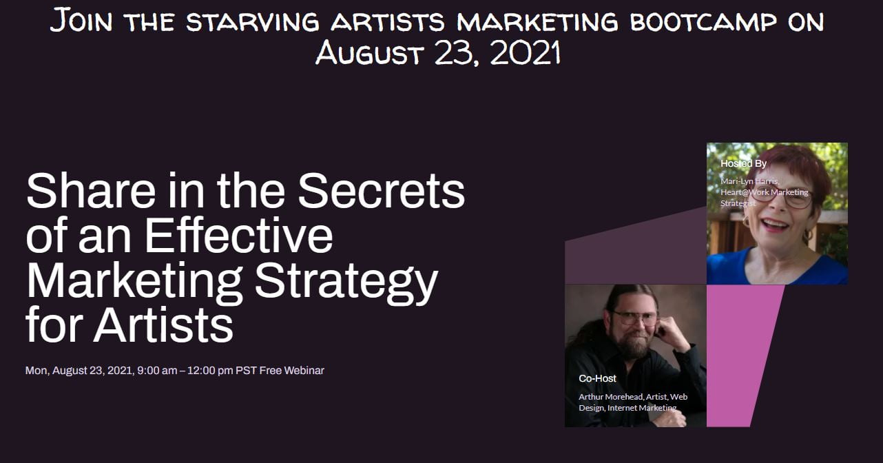 Starving Artists Marketing Bootcamp Landing Page by Artistic Created Websites
