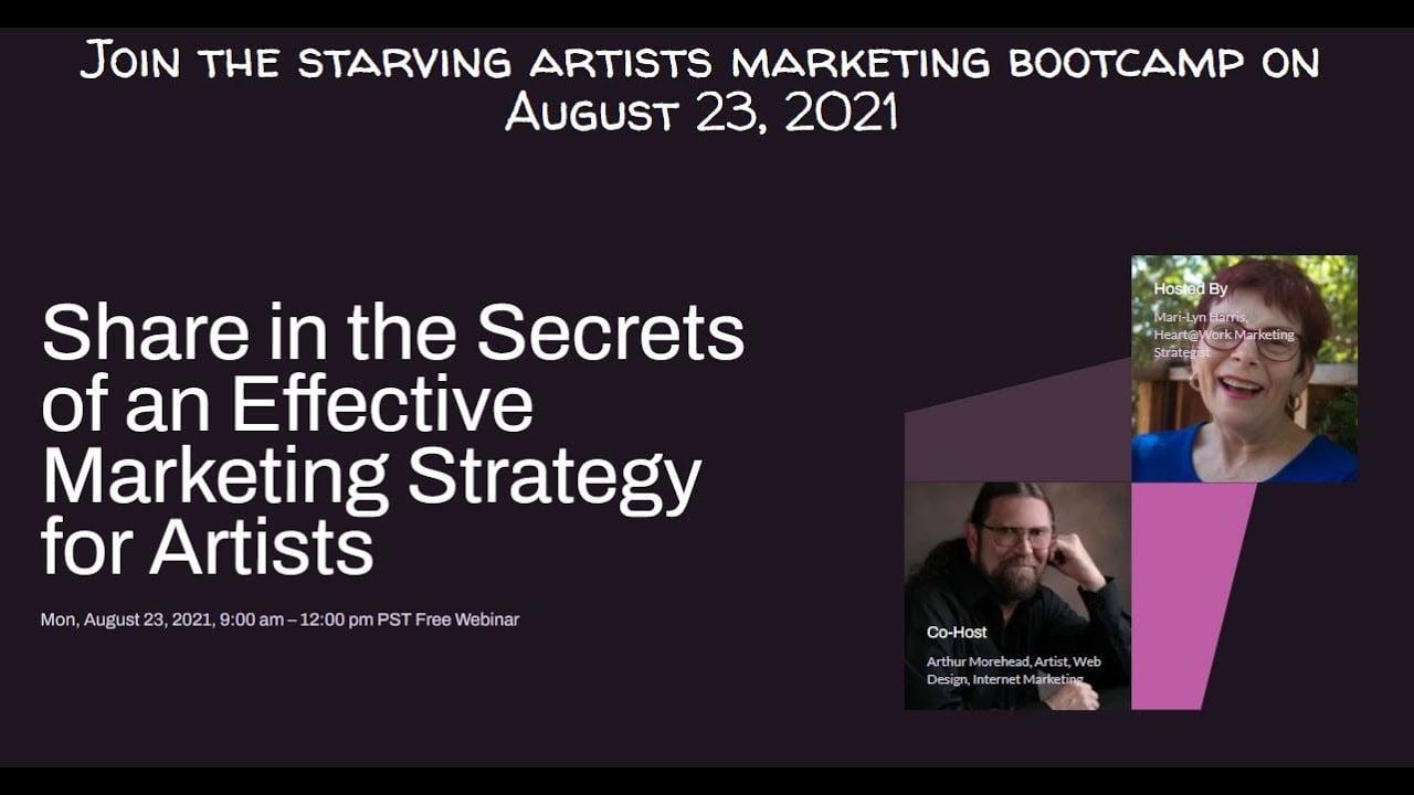 Starving Artists Marketing Bootcamp Webinar Updates by Artistic Created Websites & Heart@Work